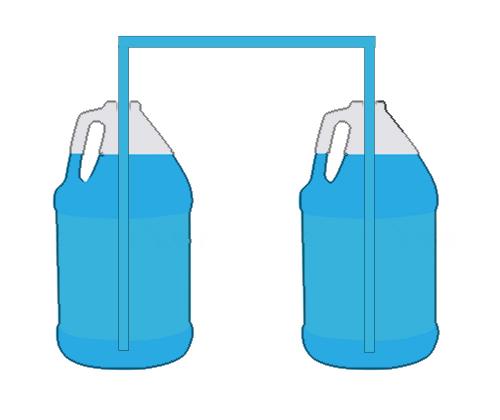 W celu zwiększenia zapasu wody do dolewki można połączyć naczynia wężykiem.
